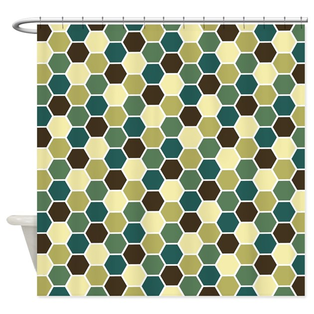 Earth Tone Hexagon Pattern Shower Curtain By