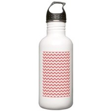 Coral White Chevrons Water Bottle
