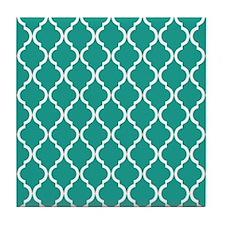 Turquoise Moroccan Lattice Pattern Tile Coaster