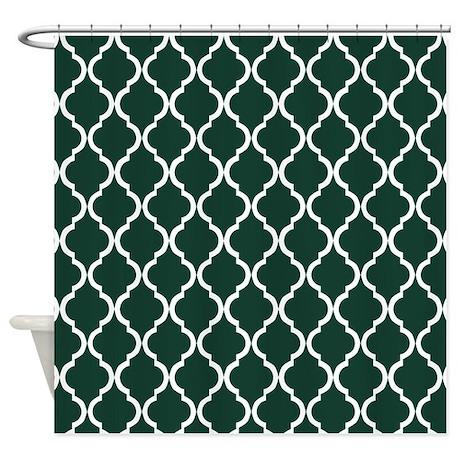 Dark Green Moroccan Lattice Shower Curtain By