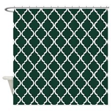 Dark Green Moroccan Lattice Shower Curtain