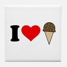 I Heart Ice Cream Cone Tile Coaster
