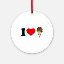 I Heart Ice Cream Cone Round Ornament