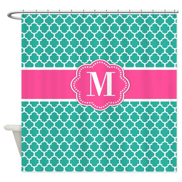 Teal pink quatrefoil monogram shower curtain by for Quatrefoil bathroom decor