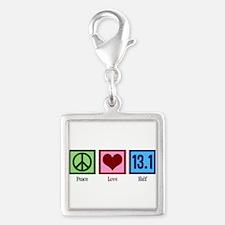 Peace Love 13.1 Silver Square Charm