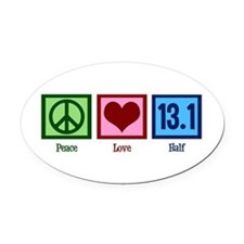 Peace Love 13.1 Oval Car Magnet