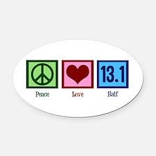 Peace Love 13.1 Oval Car Magnet