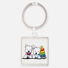 Westie Playful Puppies Square Keychain