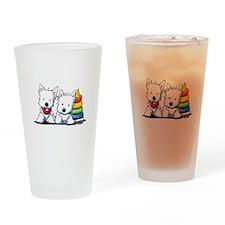 Westie Playful Puppies Drinking Glass