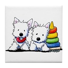 Westie Playful Puppies Tile Coaster