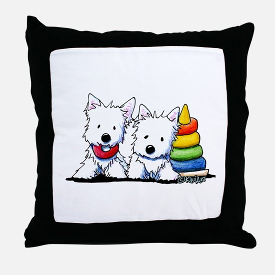 Westie Playful Puppies Throw Pillow