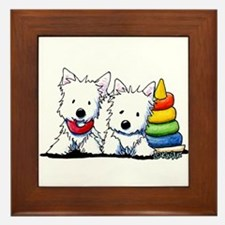 Westie Playful Puppies Framed Tile