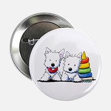 """Westie Playful Puppies 2.25"""" Button"""