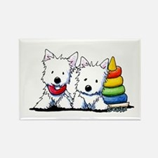 Westie Playful Puppies Rectangle Magnet