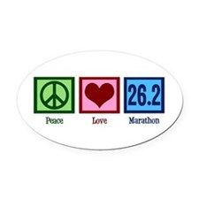 Peace Love 26.2 Oval Car Magnet