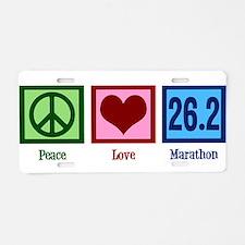 Peace Love 26.2 Aluminum License Plate
