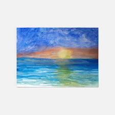 Ocean Sunset Beach 5'x7'Area Rug