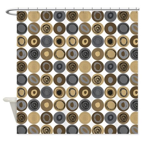 Blue And Tan Swirly Dot Pattern Shower Curtain By Listing