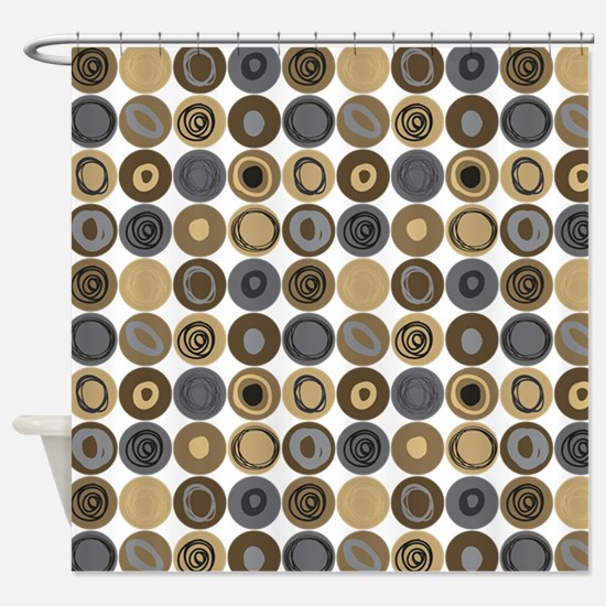 Blue and Tan Swirly Dot Pattern Shower Curtain