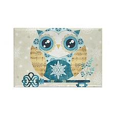 Winter Wonderland Owl Rectangle Magnet