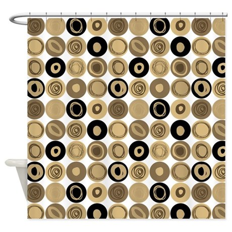 Black And Tan Swirly Dot Pattern Shower Curtain By Listing