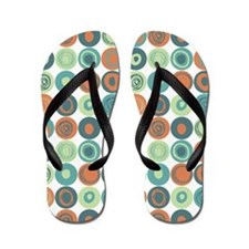 Aqua and Orange Swirly Dot Pattern Flip Flops