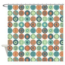 Aqua and Orange Swirly Dot Pattern Shower Curtain