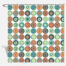Aqua and Orange Swirly Dot Pattern Shower Curtain