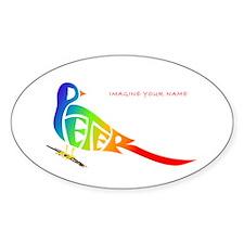 Peter rainbow bird Oval Decal