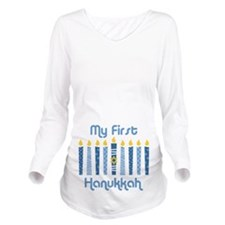1st Hanukkah Candles Long Sleeve Maternity T-Shirt