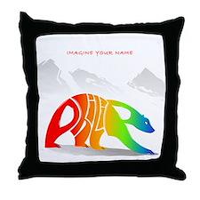 Philip rainbow bear Throw Pillow