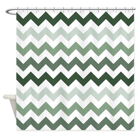 Sea Green Chevron Pattern Shower Curtain By Listing Store 1053336