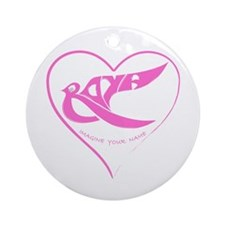 Roya pink bird in a heart Ornament (Round)
