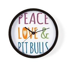 Peace Love and Pit Bulls Wall Clock