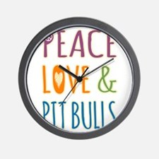 Peace Love and Pit Bulls Wall Clock