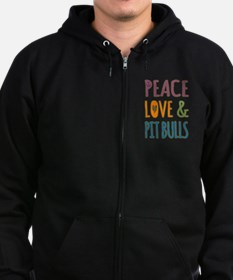 Peace Love and Pit Bulls Zip Hoodie