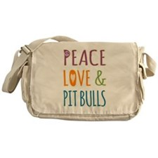Peace Love and Pit Bulls Messenger Bag