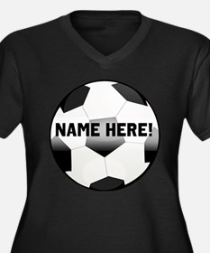 Personalized Name Soccer Ball Women's Plus Size V-