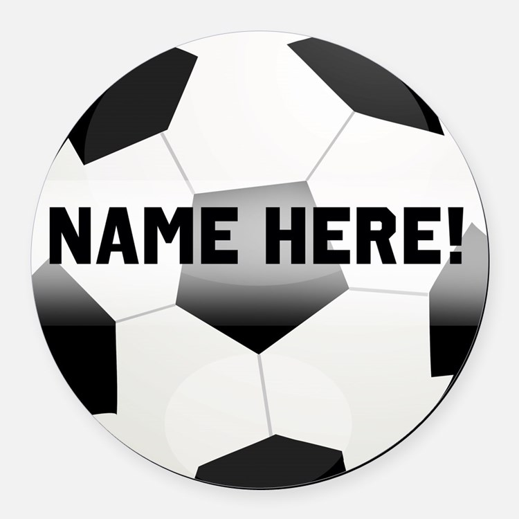 Personalized Name Soccer Ball Round Car Magnet