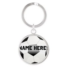 Personalized Name Soccer Ball Round Keychain