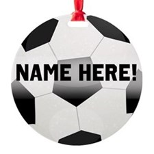 Personalized Name Soccer Ball Round Ornament