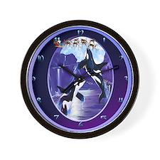 Orca Christmas Oval Wall Clock