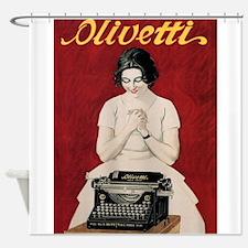 Olivetti, Typewriter, Vintage Poster Shower Curtai