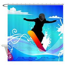 Snowboarding, Shower Curtain