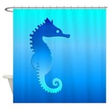 Blue sea horses Shower Curtains