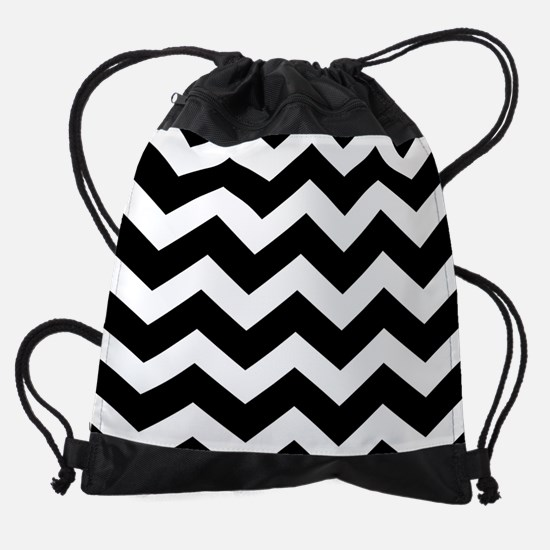 Black And White Chevron Drawstring Bag