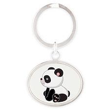 Cute Baby Panda Bear Oval Keychain