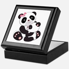 Cute Mom & Baby Panda Bears Keepsake Box