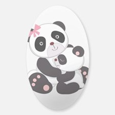 Cute Mom & Baby Panda Bears Sticker (Oval)