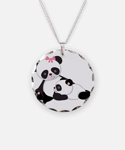 Cute Mom & Baby Panda Bears Necklace Circle Charm